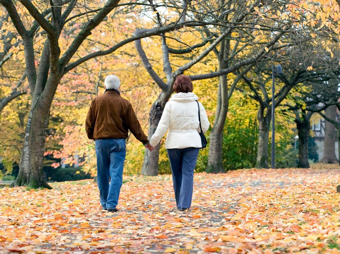 пара собирается прогуляться по зеленому парку.